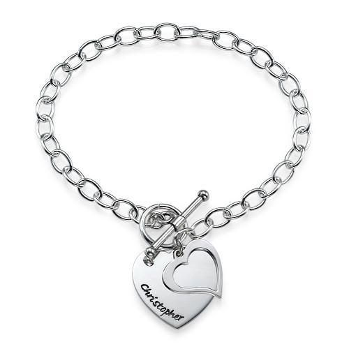 Armband anhänger  Doppelherz Anhänger Armband aus Silber | MeineNamenskette