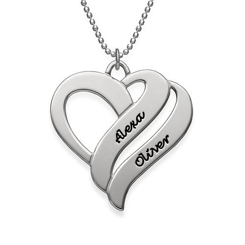 Doppelherz-Halskette aus Silber