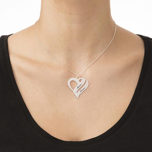 Doppelherz-Halskette aus Silber - 1