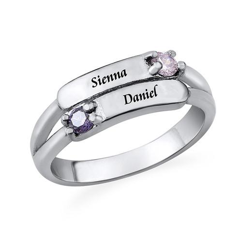 Doppelter Geburtsstein Ring mit Gravur