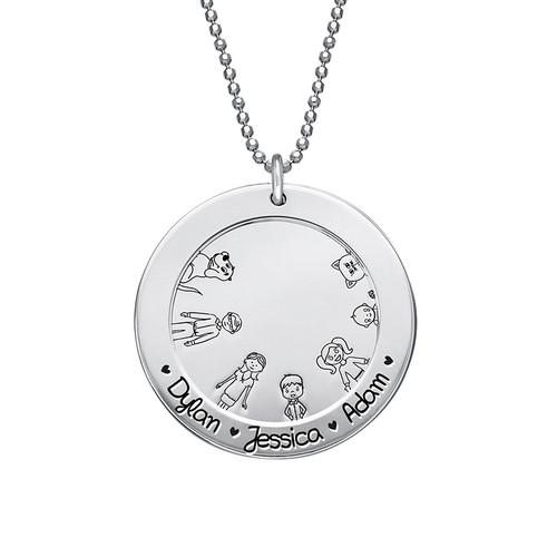 Familien Halskette aus Sterling Silber