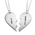 Teilbare Herzkette mit Gravur aus 925er Silber