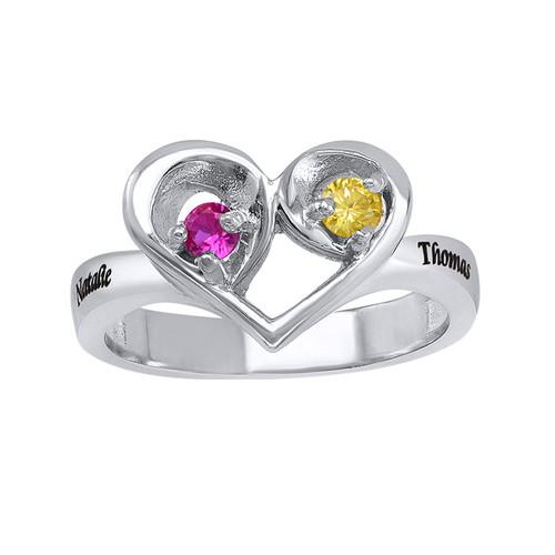 Geburtsstein-Ring in Herzform mit der Gravur - 1