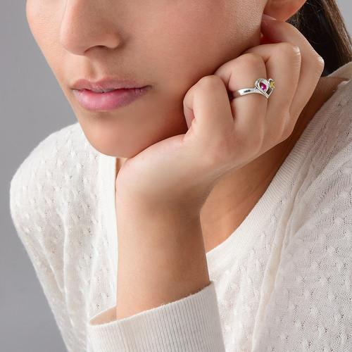 Geburtsstein-Ring in Herzform mit der Gravur - 3