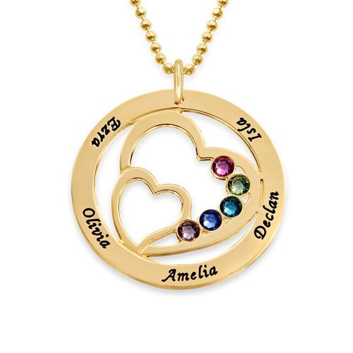 Geburtssteinkette mit konzentrischen Herzen - aus 375er Gold