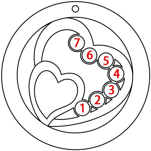 Geburtssteinkette mit konzentrischen Herzen - aus 375er Gold - 2