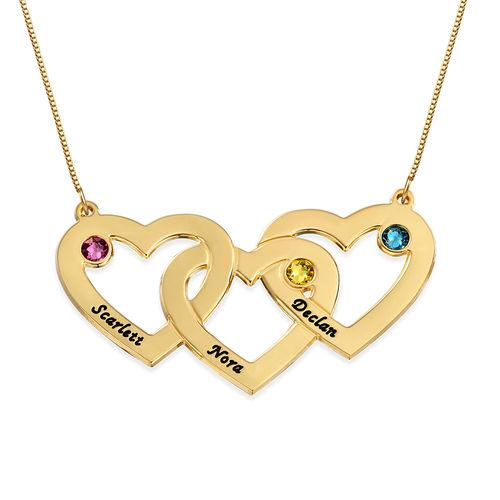 Geburtssteinkette mit verschlungenen Herzen aus 375er Gold