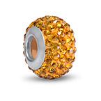 Gelbe Topas Geburtsstein Glasperle mit Zirkonia