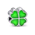 Grüne Kleeblatt Charm-Perle