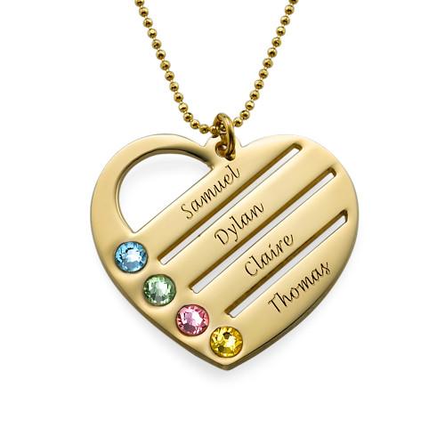 Gravierbare 10K Gold Geburtsstein Herzkette