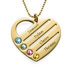 Gravierbare 417er Gold Geburtsstein Herzkette