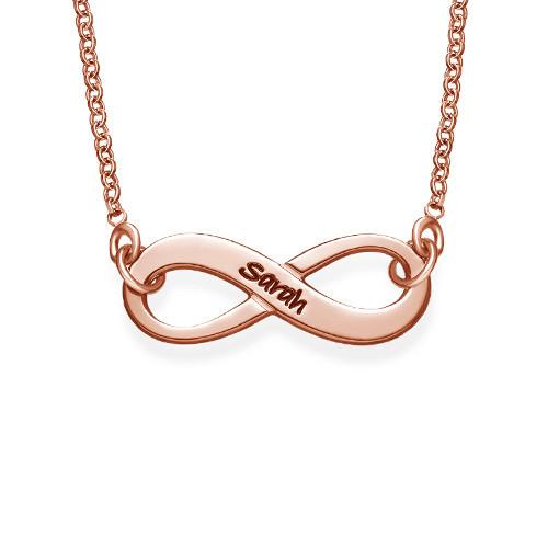 Gravierbare Infinity Halskette aus Rosé vergoldetem Silver