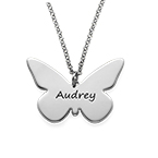 Gravierbare Schmetterlingskette aus Silber