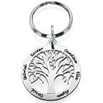 Gravierbarer Familienbaum Schlüsselanhänger aus Silber