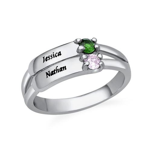 Gravierbarer Geburtsstein Ring aus Sterling Silber