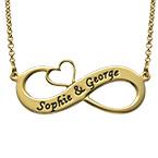 Gravierbare vergoldete Infinity-Kette mit ausgeschnittenem Herz