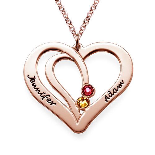 Gravierte Geburtssteinkette für Paare -  rosévergoldet