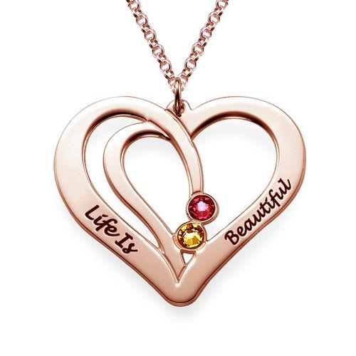 Gravierte Geburtssteinkette für Paare -  rosévergoldet - 1