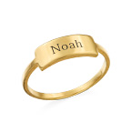 Gravierter Silberring mit Namensplakette - vergoldet