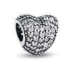 Herz Charm-Perle mit Zirkonia