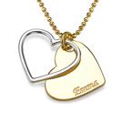 Herz-Halskette für Paare in zwei Tönen mit Wunschgravur