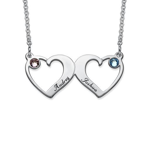 Herz an Herz-Halskette mit Geburtssteinen
