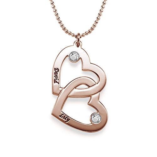 Herz-in-Herzkette mit Geburtsstein -  rosévergoldet - 1