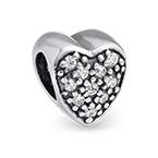 Herzförmige Charm-Perle mit Zirkonia