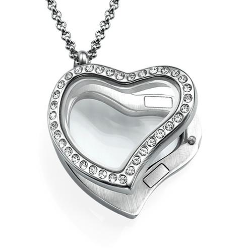 Herzförmiges Medaillon mit Kristallen - 1
