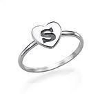 Herzinitialring aus Sterling Silber