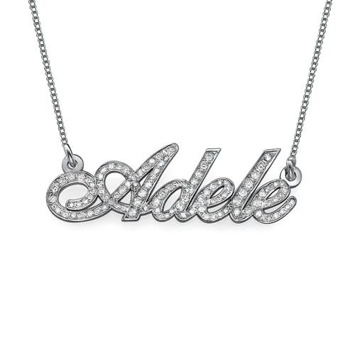 Individualisierte Diamant-Namenskette aus 585er Weißgold (14 Karat)