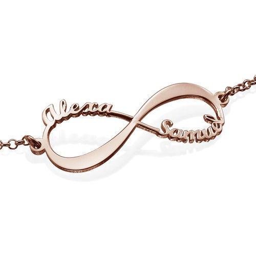 Infinity-Armband mit Namen - rosévergoldet - 2