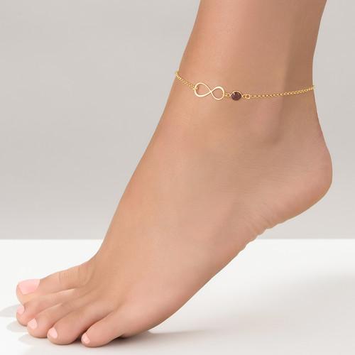 Infinity Fußkette mit Vergoldung und Geburtsstein - 1
