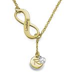 Infinity Geburtssteinkette in Y-Form aus 750er vergoldetem 925 Silber