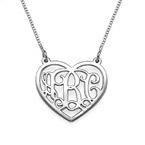 Monogramm Herzkette aus 925er Silber