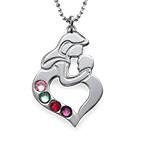 Mutter Kind Halskette aus Silber