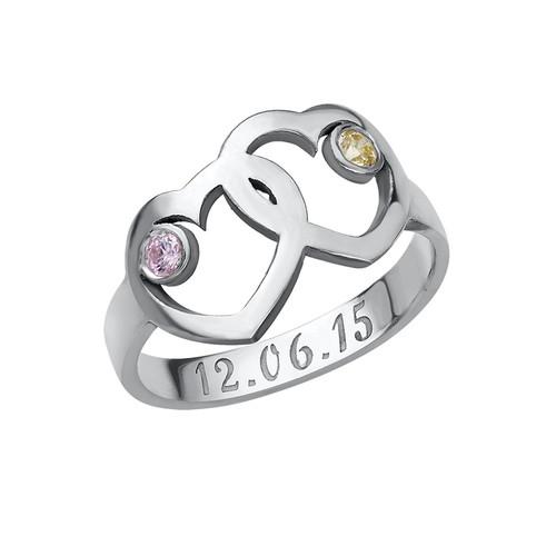 Mutterherz-Ring mit Geburtssteinen
