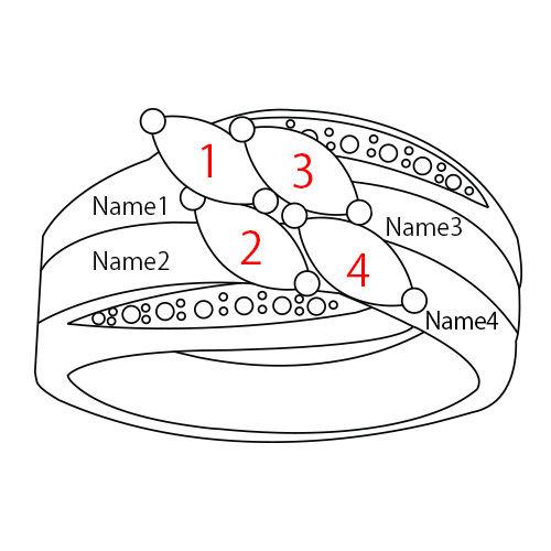 Mutterring mit 4 Steinen - rosévergoldet - 4
