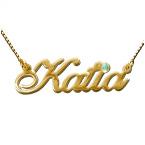 Namenskette aus doppelt-starkem Gold mit Swarovski Kristall