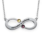 Partner Infinity - Unendlichkette mit Geburtssteinen