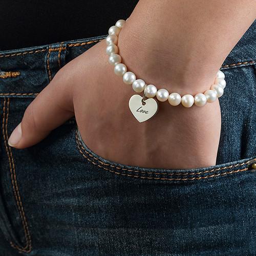 Perlen Armband mit graviertem Anhänger aus 925er Silber ...