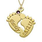 Persönlich gestaltete Babyfuß-Halskette aus 14k Gold