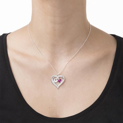 Personalisierbare Herzkette mit herzförmigen Geburtssteinen - 2