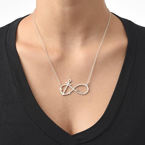 Personalisierbare Infinity Halskette mit Anker - 1