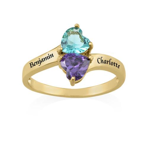 Personalisierbarer Geburtsstein-Ring aus vergoldetem Silber - 1