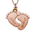 Personalisierte Babyfuß Halskette Mit Rosé vergoldetem Silber