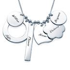 Personalisierte Mutterkette mit mehreren Anhängern aus Silber