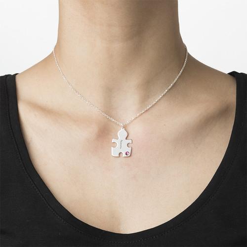 Puzzle-Halskette mit Geburtssteinen aus Sterling Silber - 2