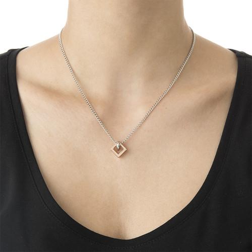 Quadratische Sie und Er Halskette - 1