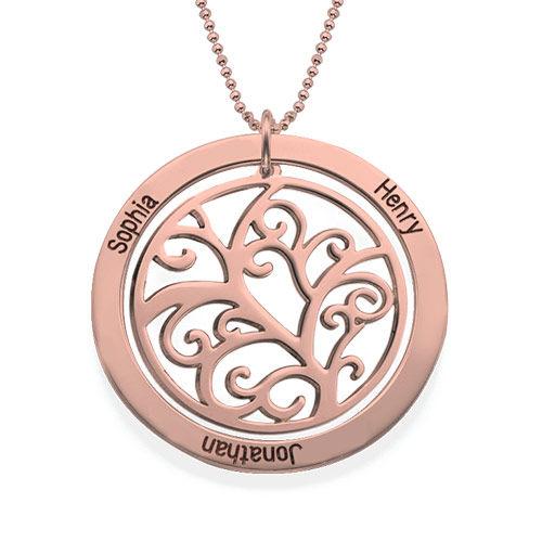 Rosé vergoldete Stammbaumkette mit Geburtssteinen - 2